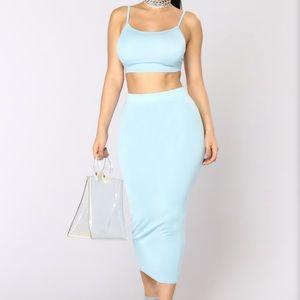 BRAND NEW- light blue two piece dress